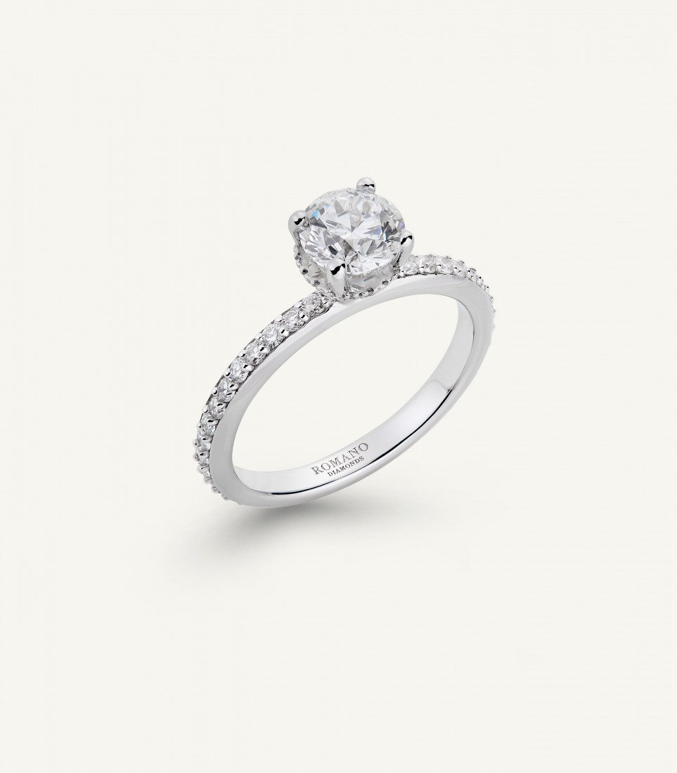 ANELLO SOLITARIO ROMANTIC CASTEL fila brillanti 1.25 ct