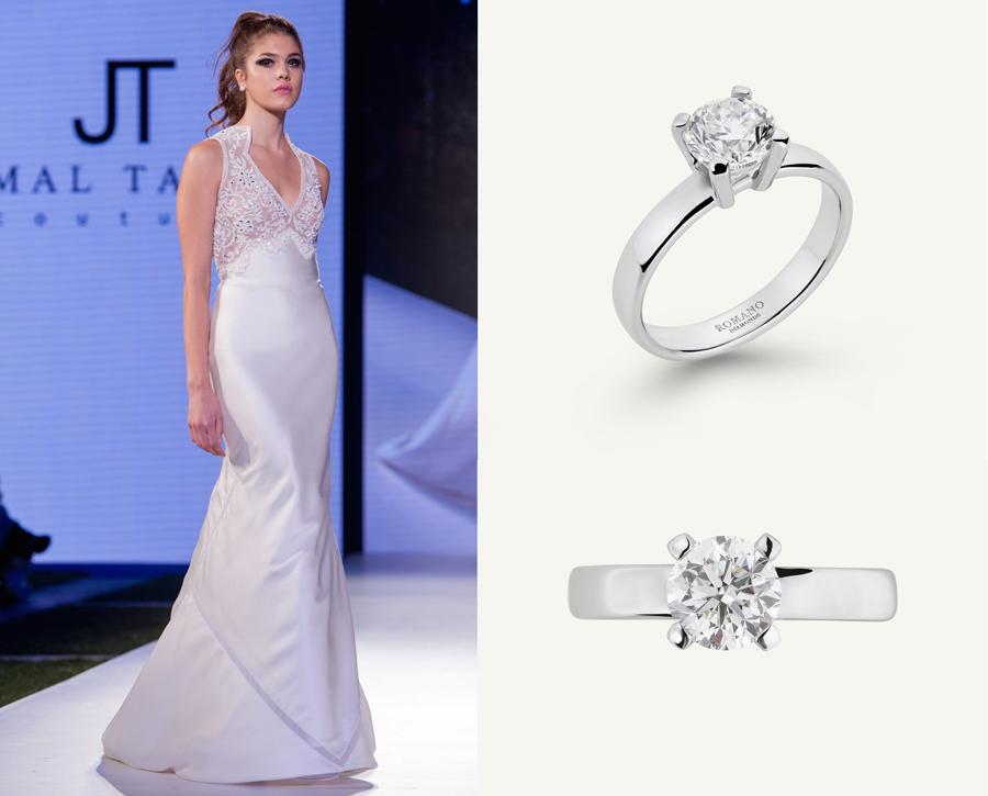 Un abito della collezione sposa del couturier Jamal Taslaq e, accanto, l'anello Castel di Romano Diamonds, con un diamante solitario da 1.00 carato